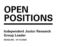 Open Position - Independent Junior Research Group Leader